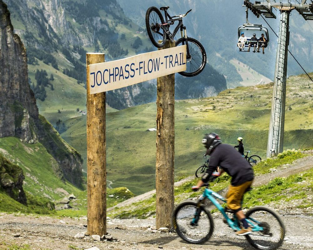 Flow trail start, Engelberg bike trails.