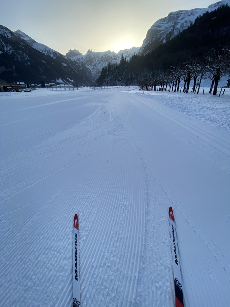 Cross country first tracks in engelberg.