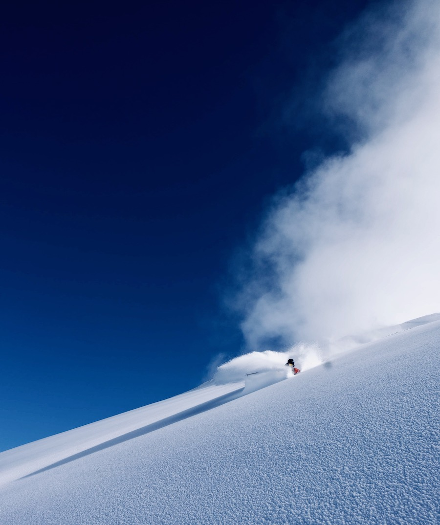 Oliver Carlin getting pitted in Engelberg October powder.