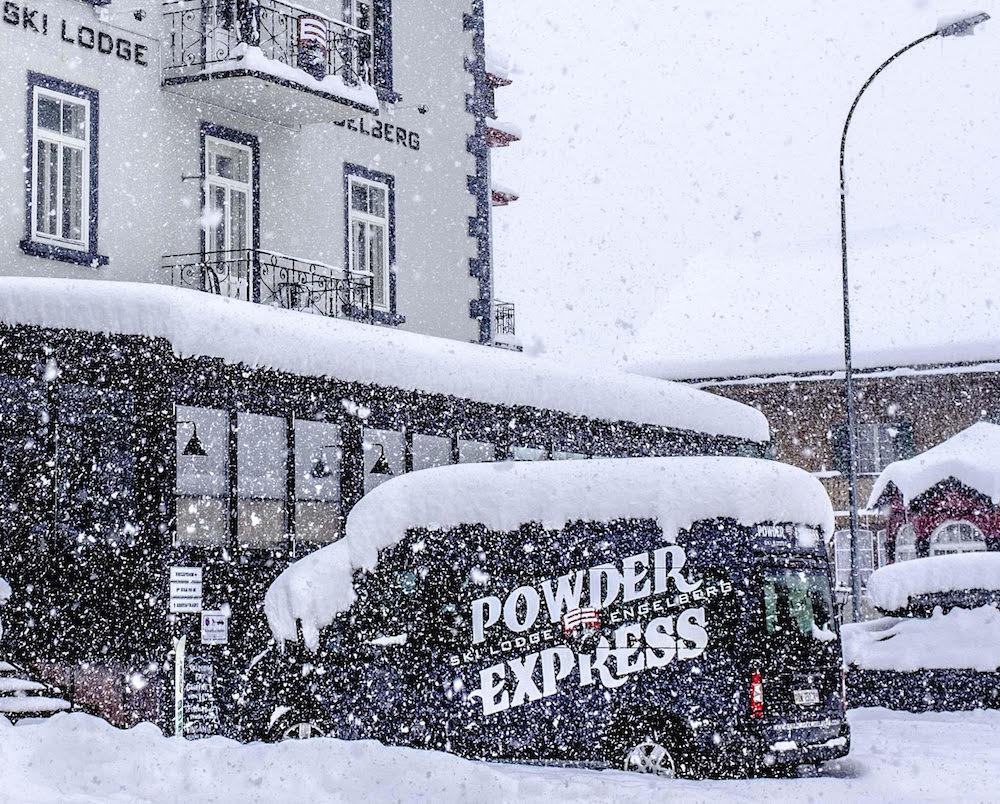 Engelberg airport transfer bus at ski lodge engelberg.