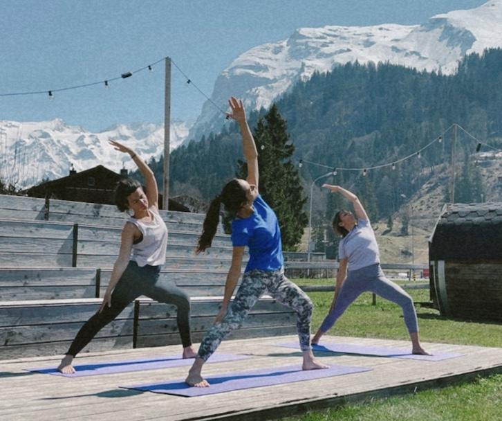 yoga at ski lodge engelberg.